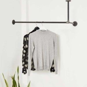 Garderobe Industriedesign Garderobenstange Deckenbefestigt L Form Wand Decke ums Eck Wasserrohr Temperguss Moebel