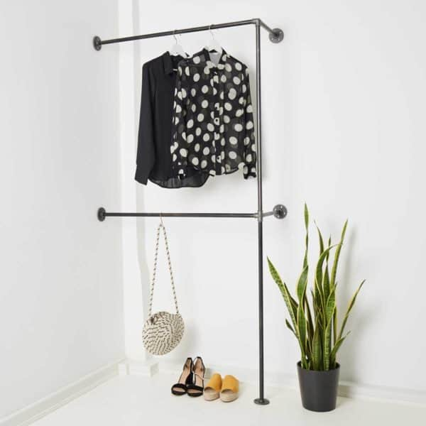 Doppelte Kleiderstange Industrial Design aus Stahlrohr