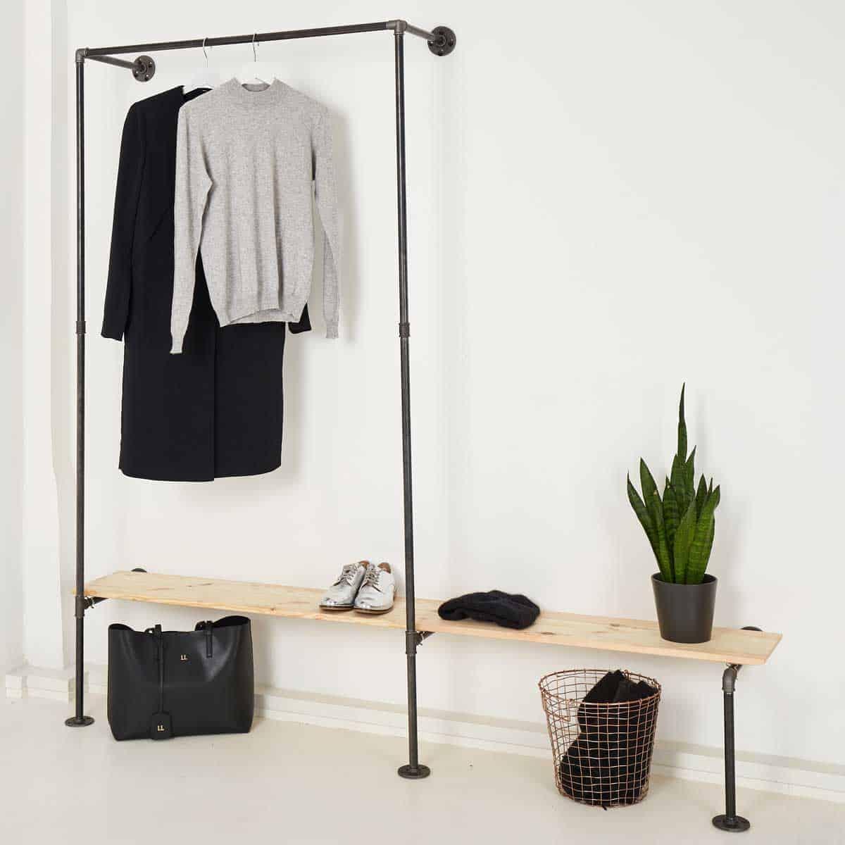 Industrial Kleiderstange IDEAL ONE · verlängertes Schuhregal