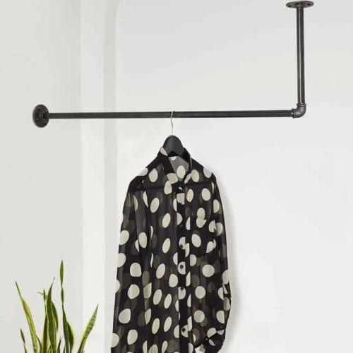 Kleiderstange Industrial Design L-Form Deckenmontage Decke Wand ums Eck