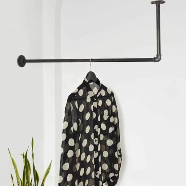 Kleiderstange Industrial Design L-Form Decke Wand ums Eck für Nische Wandmontage Deckenmontage