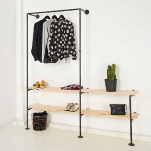 Stahlrohr Garderobe mit Schuhregal im Industrial Design Wunschmaß