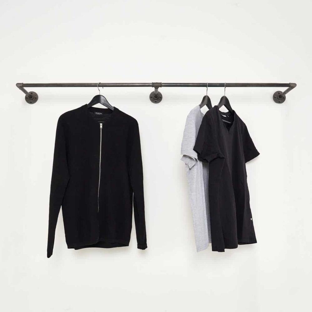 Kleiderstange Wandmontage Industrial Design Garderobenleiste Stahlrohr Metall