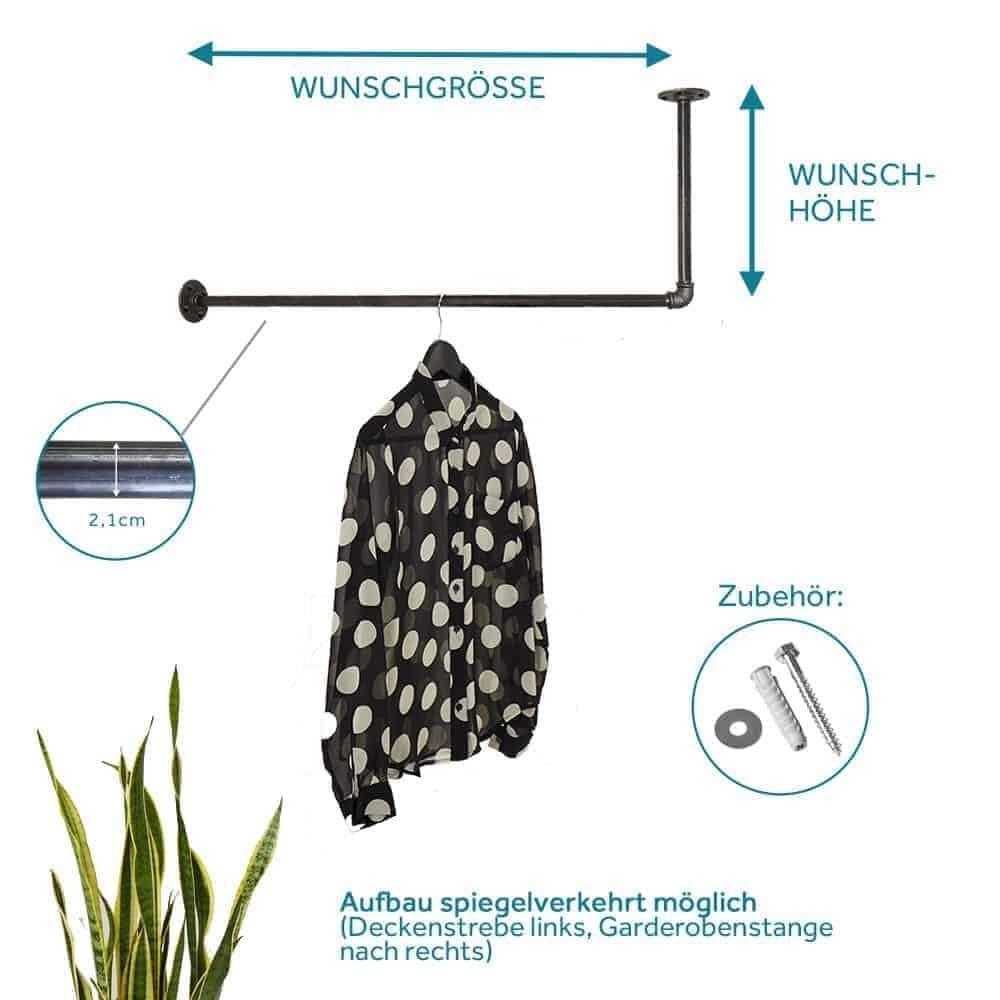 Kleiderstange Industrial Style L-Form ums Eck Deckenmontage Wand Decke Garderobe