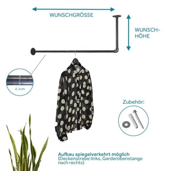 Industrial Style Kleiderstange Garderobe L-Form ums Eck Deckenmontage Wand Decke