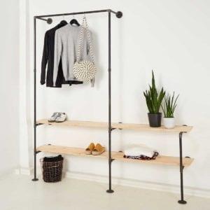 Industriedesign Garderobe offener Kleiderschrank Wasserrohr Temperguss mit Regal selber bauen