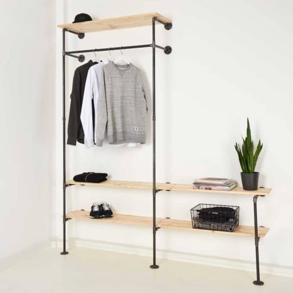 Garderobensystem Industrial Design Garderobenstange mit Schuhregal Stahlrohr und Temperguss in Wunschgroesse