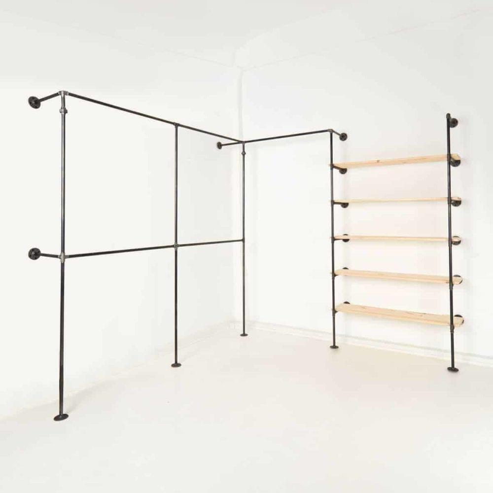 Ladeneinrichtung Industrial Style Moebel Garderobe Umkleide Kleiderstaender Stahlrohr Temperguss mit Regal selber bauen