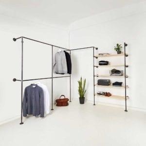 Stahlrohr Kleiderstange Industrial Design mit Temperguss Fittings und Regal für Ankleidesystem