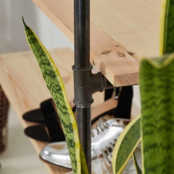Industrial Style Regal Schuhregal Ladeneinrichtung Wasserrohr Temperguss Kleiderstange Moebel DIY selber bauen