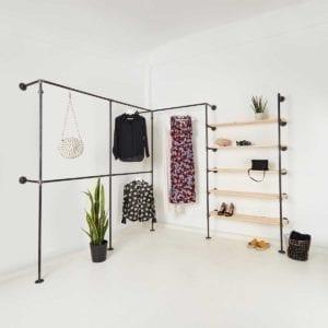 Kleiderstange Industrial Design mit Regalsystem aus Wasserrohr
