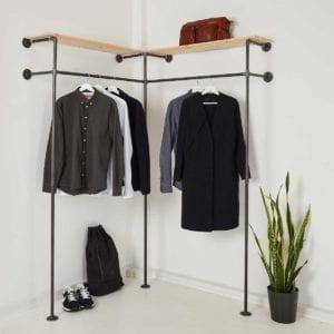 Industrial Design Kleiderschrank als Ankleidesystem mit Regalablage