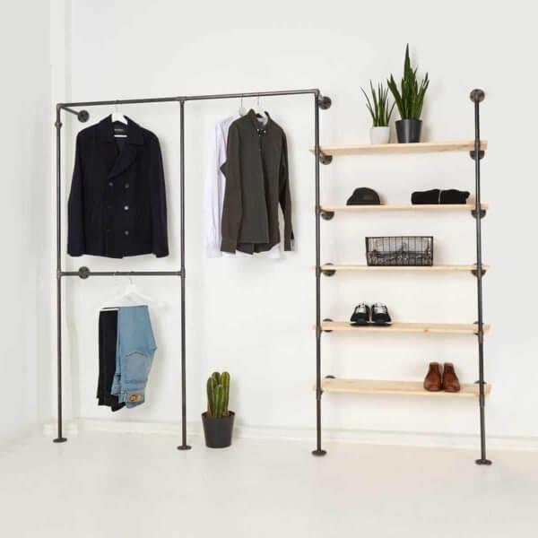 Ankleidesystem Industrial Design Kleiderstange Regal Kombination Stahlrohr Temperguss Wasserrohr Moebel