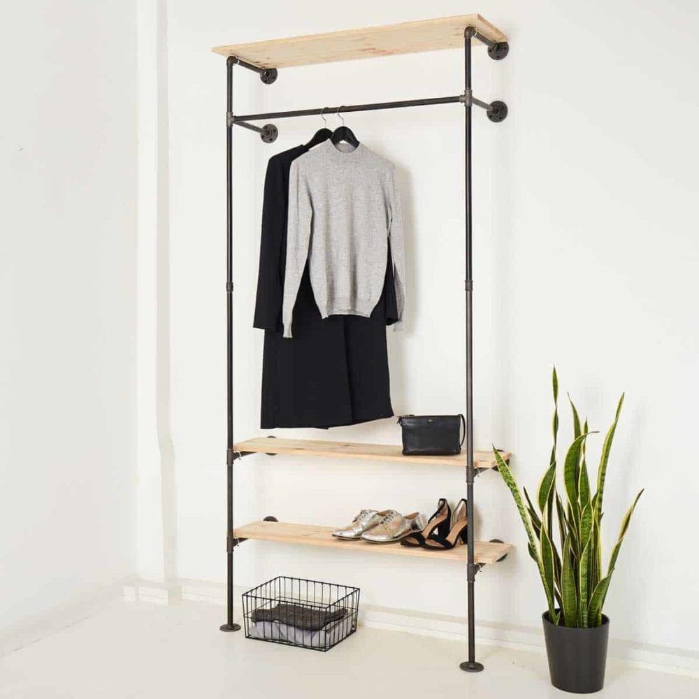Garderobe Industriedesign Stahlrohr Temperguss Kleiderstange Schuhregal Kombination
