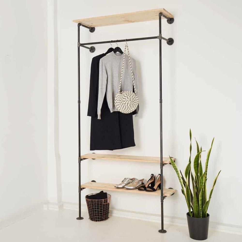 Garderobenschrank Industrial Design Kleiderstange mit Schuhregal Hutablage Wasserrohr Heizungsrohr schwarz selber bauen