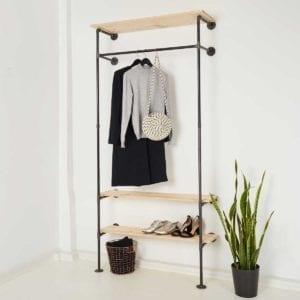 Garderobenschrank Industrial Design Kleiderstange mit Schuhregal