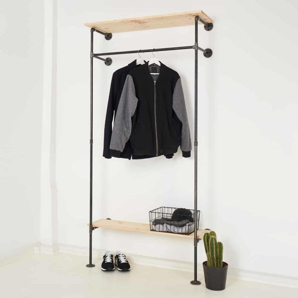 Garderobenschrank Industrial Design Kleiderstange Schuhregal Stahlrohr Temperguss