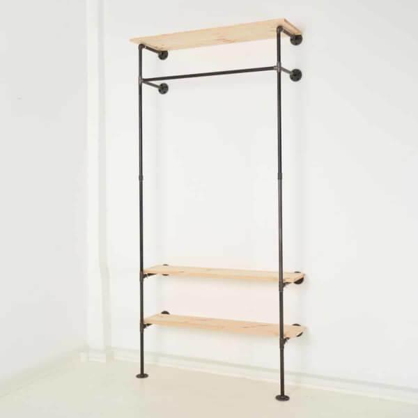 Garderobensystem Ankleidesystem Industrial Design Stahlrohr Temperguss mit Hutablage & Schuhregal