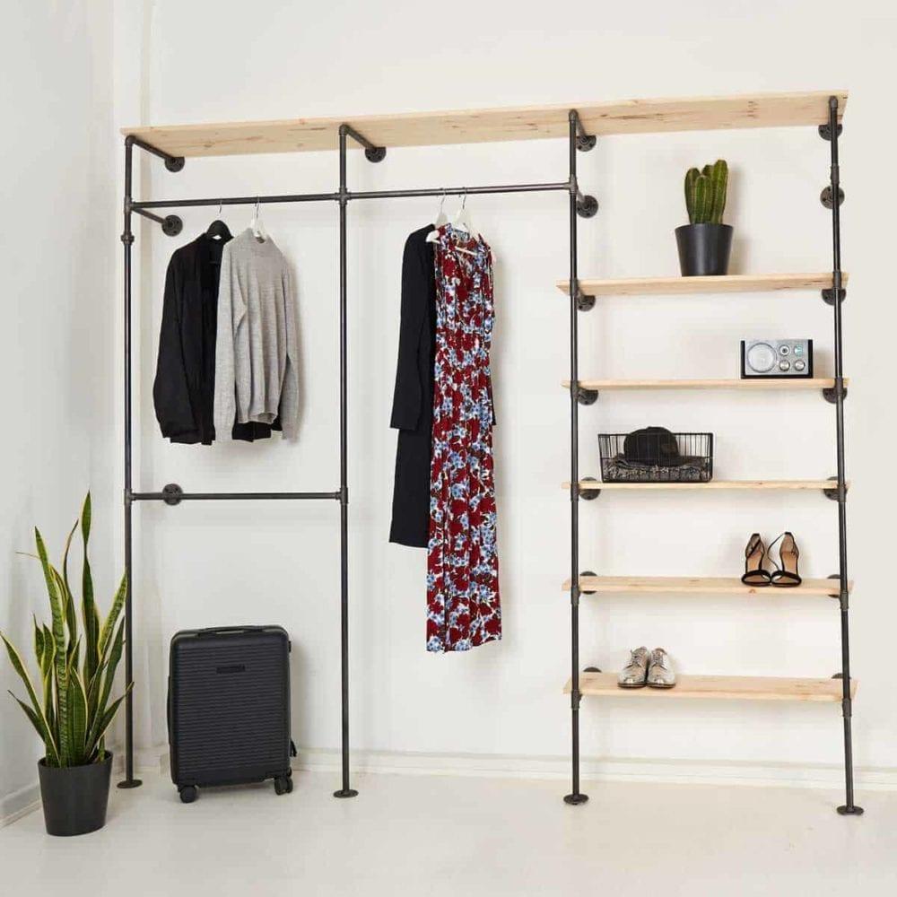 Offener Kleiderschrank Industrial Style Kleiderständer Ladeneinrichtung Kleidestange Regal aus Wasserrohr Temperguss Metall schwarz stabil
