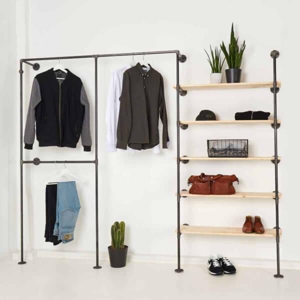 Offener Kleiderschrank Industrial Design Stahlrohr Temperguss mit Regal
