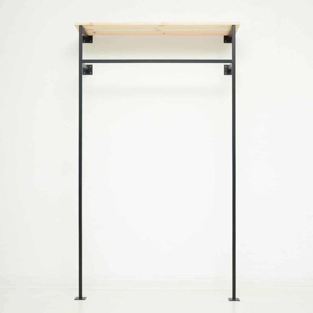 garderobe industriedesign kleiderstange skandinavisch offener kleiderschrank geschweisst schwarz pulverbeschichtet metall eckig