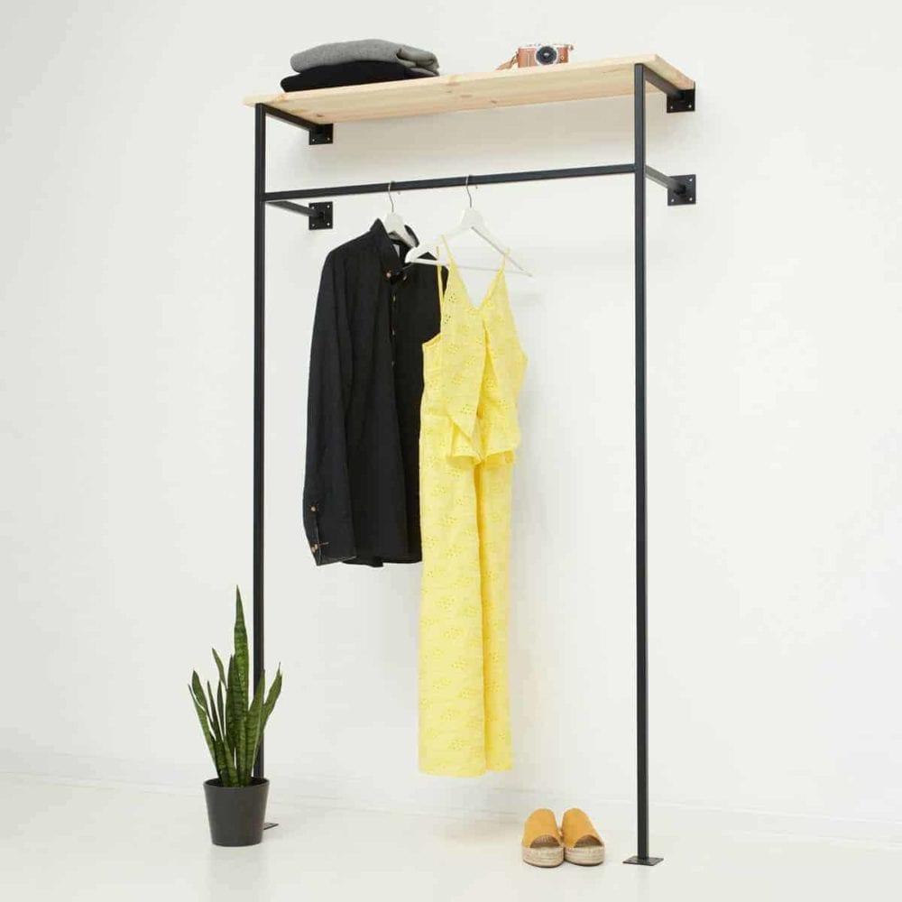industrial design skandinavisch garderobe kleiderständer geschweisst metall schwarz pulverbeschichtet