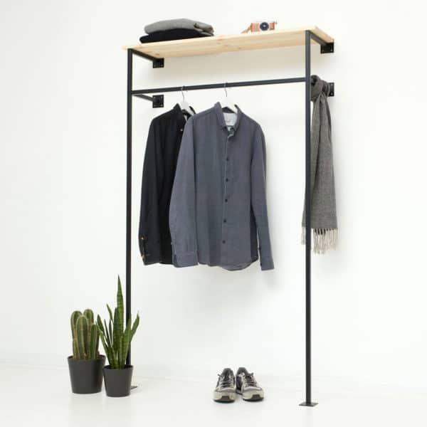 industrial design offener kleiderschrank ankleidesystem garderobe schwarz geschweisst pulverbeschichtet metall stahl