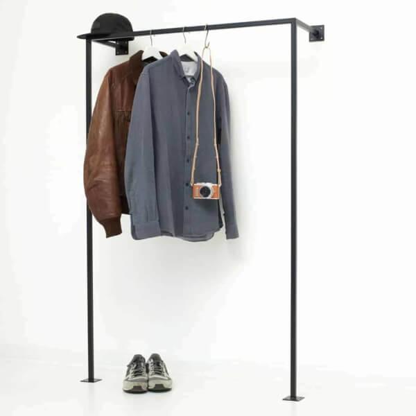 Industrial Garderobe geschweisst schwarz pulverbeschichtet Wasserrohr