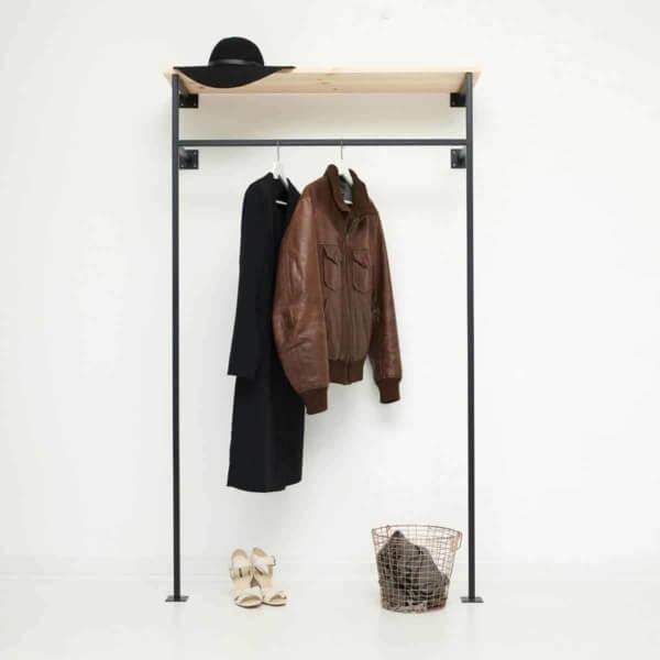 metall garderobe skandinavisch kleiderstange vierkant stahlrohr metall schwarz geschweisst offener kleiderschrank wandgarderobe