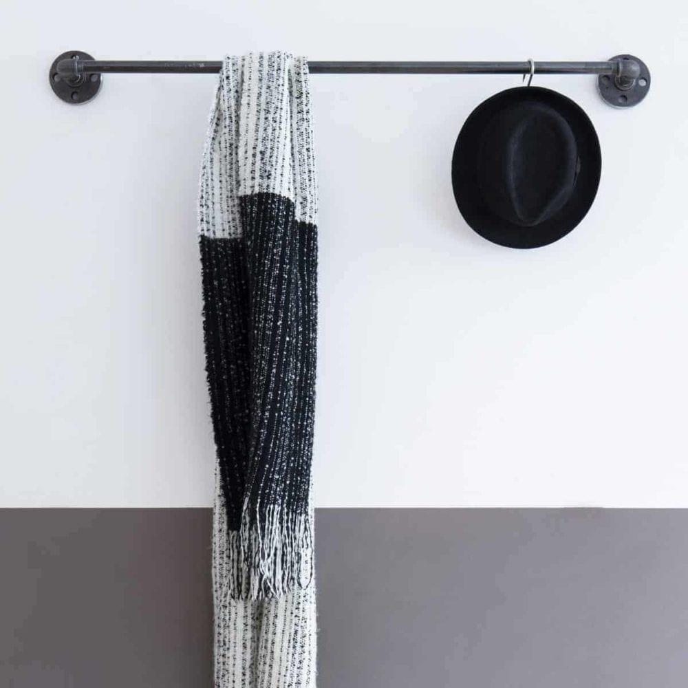 Kleiderstange Industrial Design Wandmontage Garderobe Wasserrohr Garderobenstange Stahlrohr Wandgarderobe