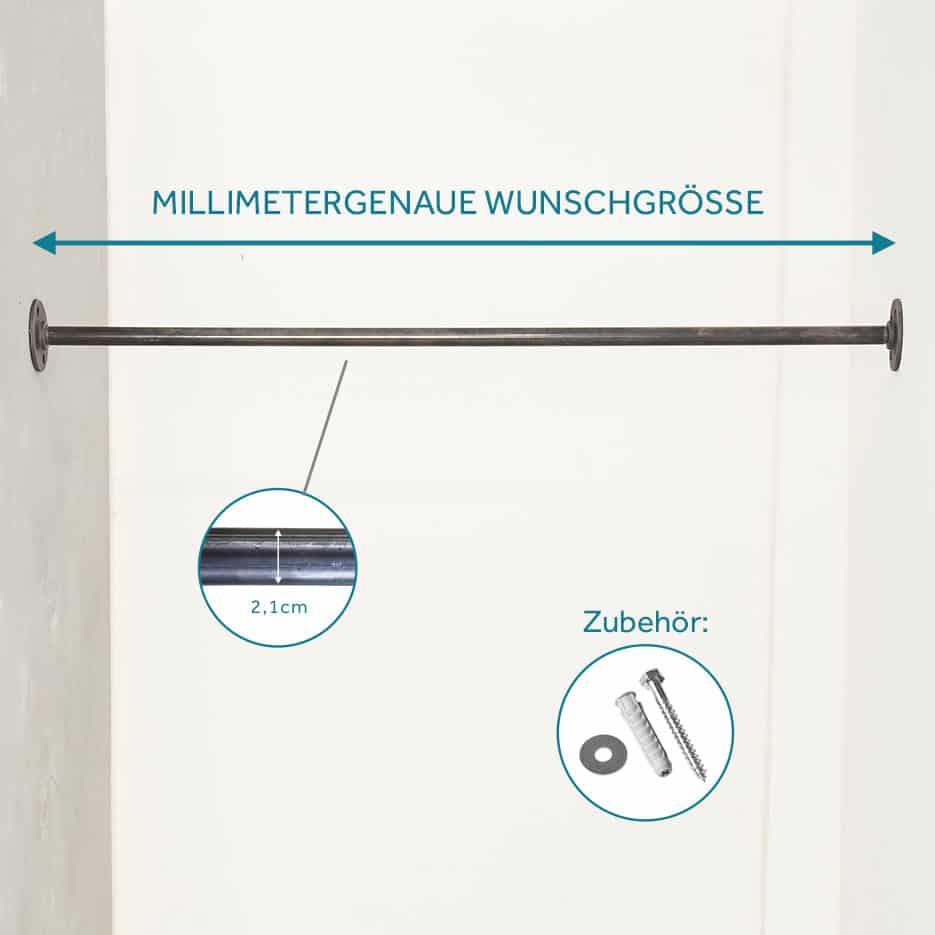 Kleiderstange Industrial Design zwischen Wänden Nischen nach Maß maßgefertigt