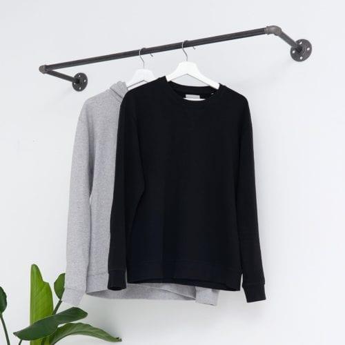 Kleiderstange Industrial zur Wandmontage, Kleiderstange Rohr
